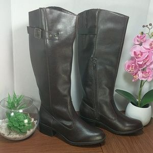 """Rampage Brown Faux Leather Tall Boot 2"""" Heel sz5.5"""